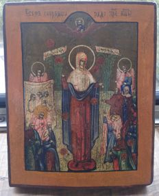 """Russian icon (first quarter 20th century) -  The Mother of God """"Joy to all who suffer"""""""