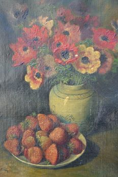 Unknown (20th century) - still life with flowers and bowl of strawberries
