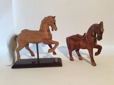 Two unique vintage hand carved wooden horses - circa 1950/1970