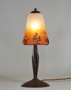Degué - Art Deco table lamp - wrought iron and coloured glass
