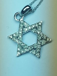 Star of David pendant in 18 kt white gold, with diamonds and 18 kt gold necklace