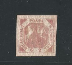 Naples, 1858 - 2 Grana, Pink/Carmine, Table III, Specimen without Filigree - Sassone No. 7c/n