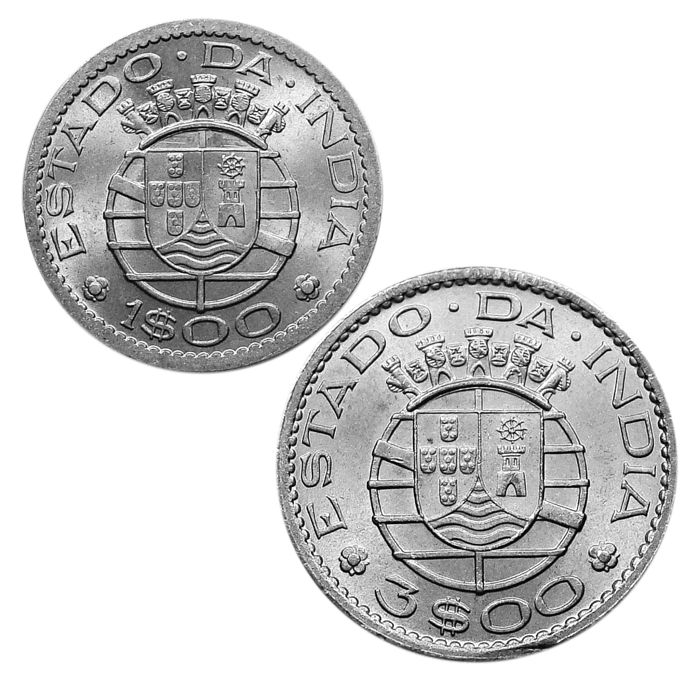 India - Portugal, Republic - 1 Escudo & 3 Escudos - 1959 - Cupro-Nickel