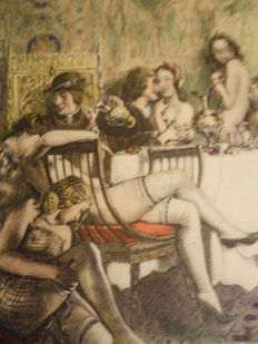 Graphic art; Paul Emile Becat - Sans titre [Le Banquet] - ca. 1950