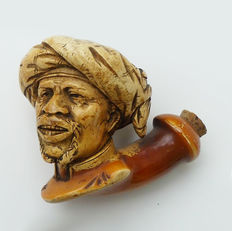 Meerschaum pipe - head with turban - France - approx 1880