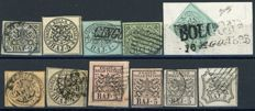 Papal States, 1852 - Lot of 11 Stamps