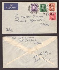 Italy 1950 - British Occupation of the Colonies, 4 stamps on envelope from Asmara to Bolzano and fragment of postal card - Sass.  No.  15/16, 18 and 22