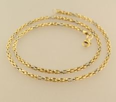 18 kt bicolour-gold necklace - 45 cm long