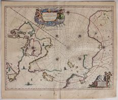 North Pole; Willem Janszoon Blaeu - Regiones sub Polo Arctico - ca. 1649