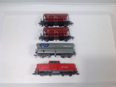 Fleischmann H0 DB Cargo Diesel locomotive and 3 bottom dischargers DB/NS