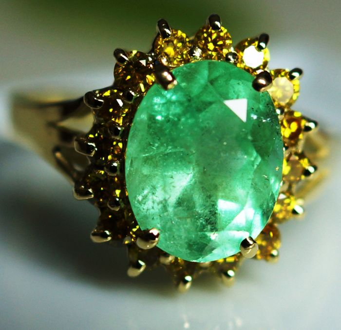 Gold Ring - 3.60 gr. with Rarity: Luxury Natural Emerald - 3.65 сt.  IGI Certificate  and Diamonds - 0.50 ct.