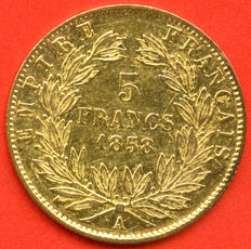 France - 5 Francs 1858 A (Paris) - Napoleon III - Gold