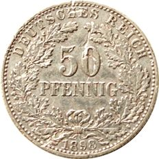 German Empire - 50 Pfennig 1898 A Eichenlaub