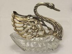Crystal salt or caviar dish with silver mounting - Albert Bodemer - Germany - 1960