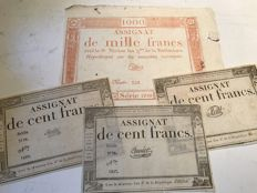 France - 1000 Francs and 3 x 100 Francs - Pick A78 (3) and A80