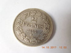 Belgium - 2 Francs 1844 position A, edge lettering /// Leopold I - silver