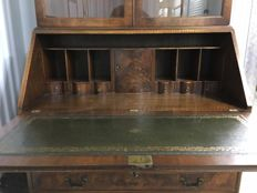 A burr and walnut desk / bookcase by B. Funnell, England, circa 1970