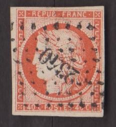 France 1849 - Cérès 40 c orange - Yvert no. 5