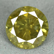 Diamond – 2.18 ct, Natural Fancy Vivid Greenish Yellow, I1 – NO RESERVE PRICE