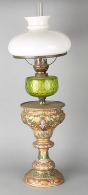 Large hand-painted petroleum lamp with richly decorated bronze base, reservoir, and opaline glass shade - Germany - 19th century
