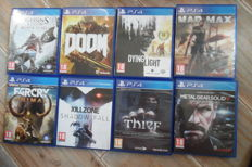 8 PS4 topgames complete like : Dying Light + Metal Gear Solid V + Thief + Assassins + Killzone and more