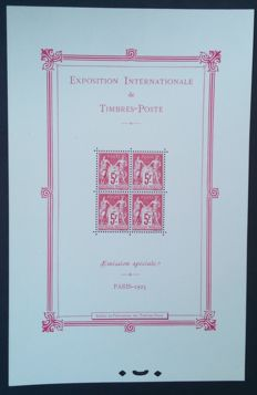 France 1925 - Exposition Philatélique de Paris souvenir sheet - Yvert no. 1