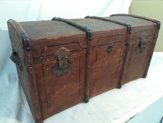 Antique back linen wooden travel trunk, Italy, ca. 1870
