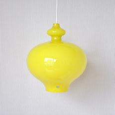 Designer and manufacturer unknown - special, yellow, hand blown, glass pendant lamp