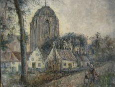 Jan van Wingen ( 1875-1956) - Stads Dorpgezcht Sluys