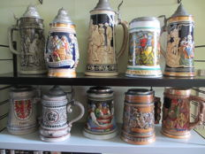 Collection of 10 beautiful earthenware beer mugs of 26 -15 cm