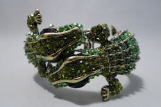 "Kenneth Jay Lane - Signed Spectacular Alligator clamper bracelet with crystals ""Couture Collection"""