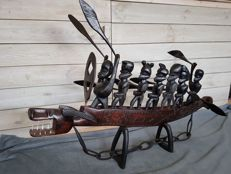 Unique Boat with Warriors in Hardwood - 131 long