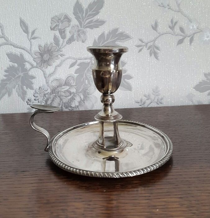 lot 745 - Antique English silver plated candle holder with handle England 1900s & lot 745 - Antique English silver plated candle holder with handle ...