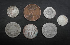 "The Netherlands - 1 ""stuiver"" (5 cent coin) 1691 Deventer, 1 cent / 25 cents 1824/1879 (7 coins in total), including silver"