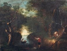 Circle of Claude Gellée, called Claude le Lorrain (1600 - 1682) - Italianate landscape with fisherman