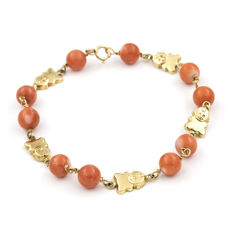 Yellow gold, 18 kt/750 - Bracelet - Pacific coral, 6.00 mm - Length 17.50 cm