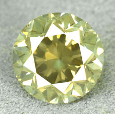Diamond – 1.53 ct, NO RESERVE PRICE – Natural Fancy Intense Greenish Yellow SI2