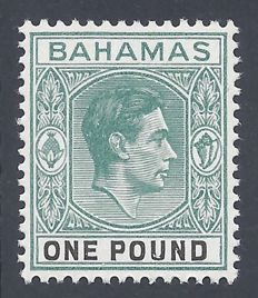 Bahamas 1938  - King George VI 1 Grey green thick paper  - Stanley Gibbons 157