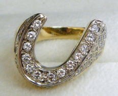 1.00 ct ring horse shoe with natural diamonds - no reserve -