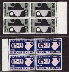 Italy Republic 1951 - Montecassino and Triennale di Milano series in blocks of four - Sass. No. S.148 and S.149