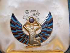 Vintage 925 silver gold plated Egyptian Revival goddess 'Maat praising the Sun' signed by Modele Adrian Mann London