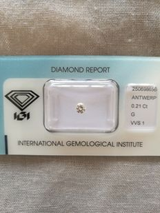 0.21 ct brilliant cut diamond, VVS1/G colour