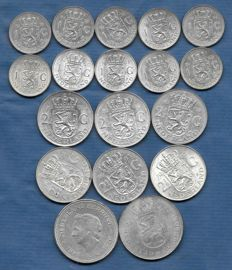 The Netherlands - 1 guilder, 2½ guilder and 10 guilder 1954/1973 Juliana (18 pieces) - silver