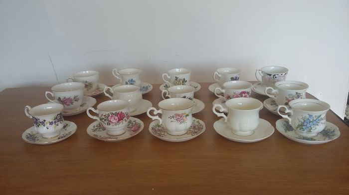 15 English cups and saucers