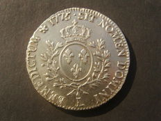 France – Louis XVI (1774-1793) – Ecu with olive branches 1775 L (Bayonne) – Silver