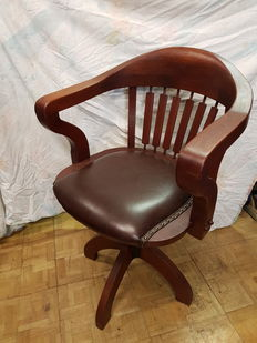 desk chair with leather seat, early 20th century