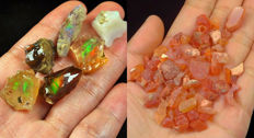 Lot of Natural Crystal Black Opal Play Of Color Rough Specimen (6) and Natural Orange Mexican Fire Opal - 127.80 Ct.