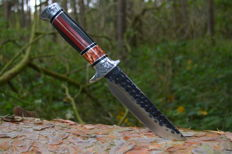 Hunting knife, Damascus knife, over 30 cm long