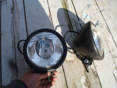 Two SPOTLIGHTS by the brand WIPAC with a diameter of 160 mm from the 1950s and 1960s