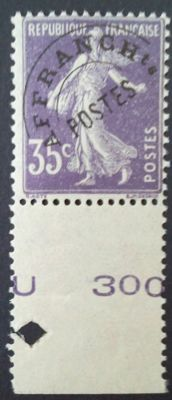 France 1922/1947 – Pre-cancelled, 'Semeuse' blak background, 35c purple, signed Calves with digital certificate - Yvert n° 62
